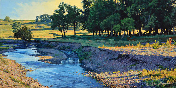 Landscape Poster featuring the painting Low Water Morning by Bruce Morrison
