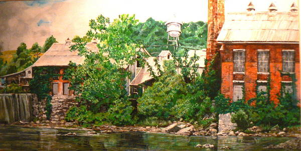 Landscape Poster featuring the painting Paper Mill by Thomas Akers