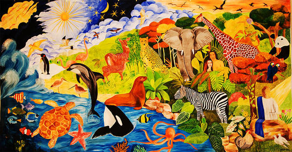 Bible Poster featuring the painting Seven Days of Creation I by Sushobha Jenner
