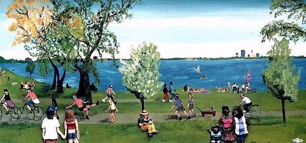 Minneapolis Poster featuring the painting Sunday morning at Lake Calhoun by Richard Hubal