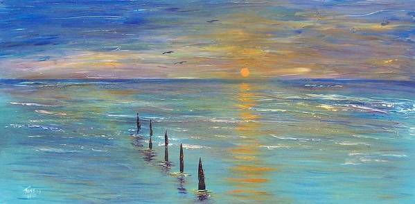 Seascape Poster featuring the painting Sunset by Tony Rodriguez