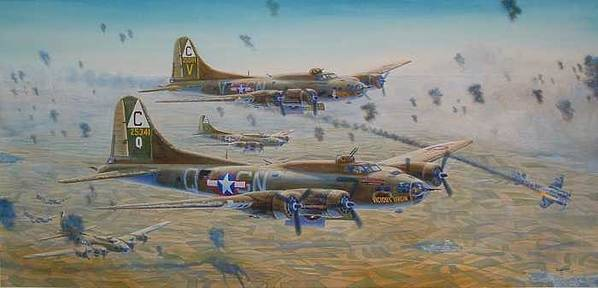 303rd Bomb Groups Vicious Virgin Poster featuring the painting The Bomb Run Over Schwienfurt by Scott Robertson