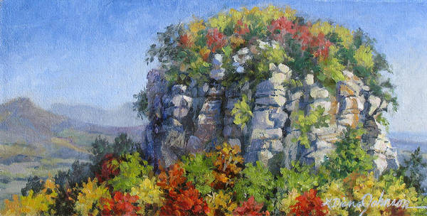 Mountains Poster featuring the painting The Pilot - Pilot Mountain by L Diane Johnson