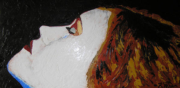 Portrait Poster featuring the painting The Tear by Ricklene Wren