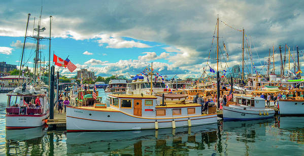 Boats Poster featuring the photograph Victoria Harbor old boats by Jason Brooks