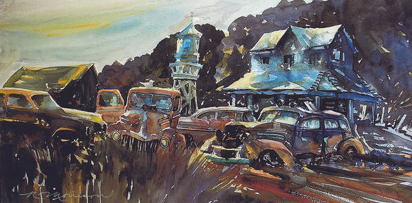 Old Cars Poster featuring the painting Water Tower Wardens by Ron Morrison