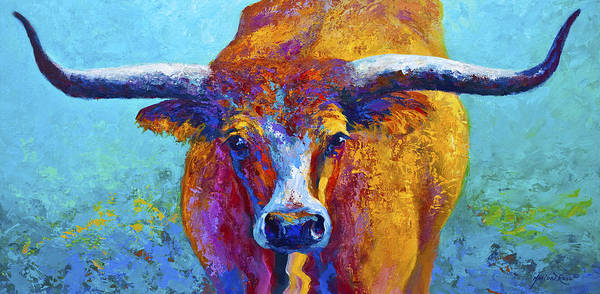 Western Paintings Poster featuring the painting Widespread - Texas Longhorn by Marion Rose