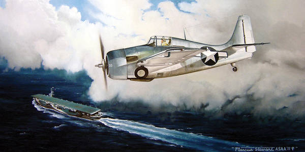 Wwii Poster featuring the painting Wildcat Home by Marc Stewart