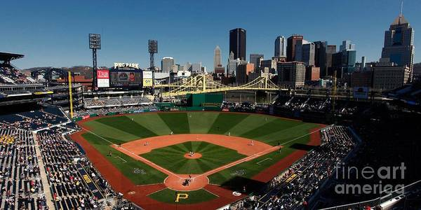Panoramic Poster featuring the photograph Houston Astros V Pittsburgh Pirates by Joe Robbins