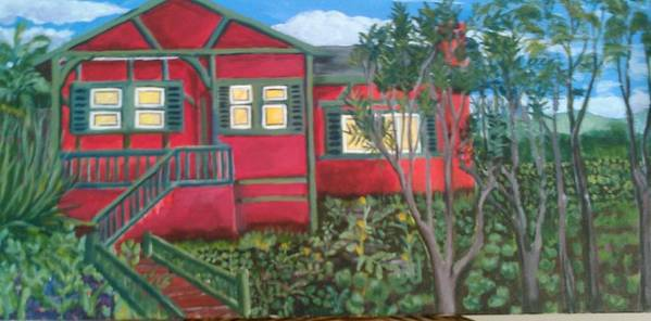 Painting Of House Poster featuring the painting Fresh yard by Andrew Johnson