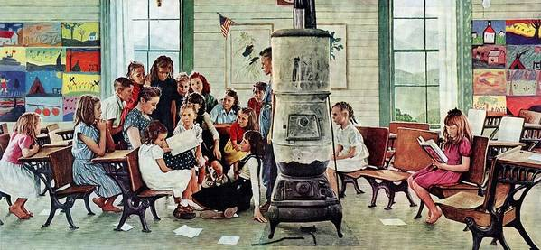 Book Poster featuring the drawing Norman Rockwell Visits A Country School by Norman Rockwell
