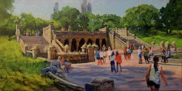 Central Park Poster featuring the painting Summer Morning On Bethesda Terrace by Peter Salwen