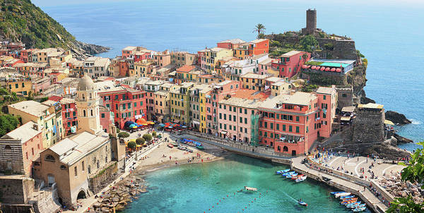 Water's Edge Poster featuring the photograph Vernazza by Borchee