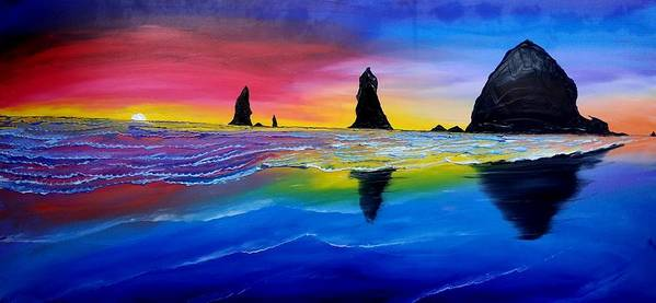 Poster featuring the painting Cannon Beach Red Sunset #1 by Dunbar's Local Art Boutique