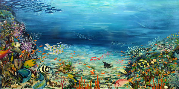 Ocean Painting Undersea Painting Coral Reef Painting Caribbean Painting Calypso Reef Painting Undersea Fishes Coral Reef Blue Sea Stingray Painting Tropical Reef Painting Tropical Painting Poster featuring the painting Deep Blue Dreaming by Karin Dawn Kelshall- Best