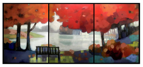 Landscape Poster featuring the painting Peaceful Fall by Farhan Abouassali