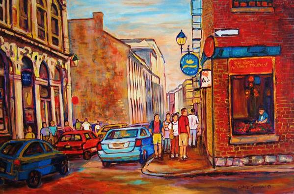 Streetscene Poster featuring the painting Saint Paul Street Montreal by Carole Spandau