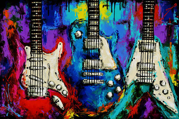 Guitar Poster featuring the painting The colors of music. by Magda Magier