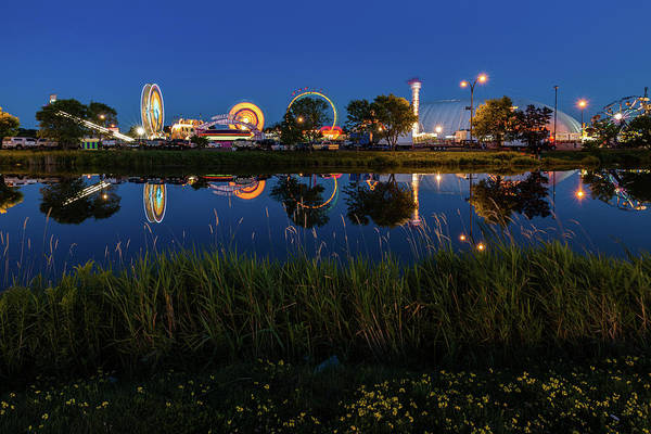 Cle Lights Poster featuring the photograph Cle Reflection by Linda Ryma