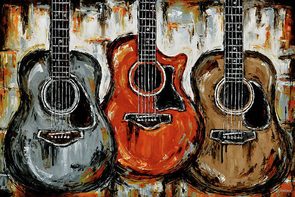 Acoustic Guitar Poster featuring the painting Warm acoustic vibes. by Magda Magier