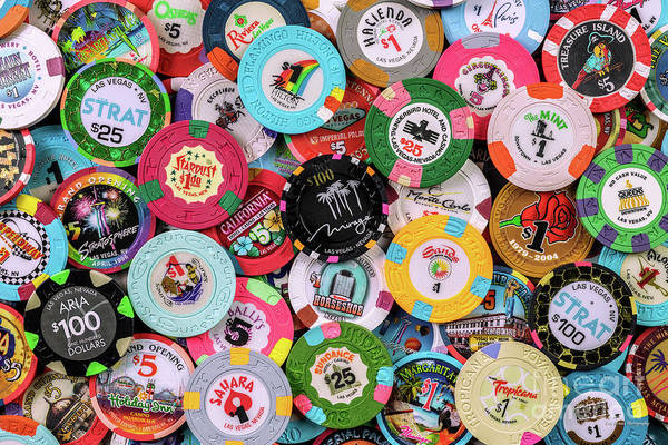 Collection Of Las Vegas Casino Chips 2 Poster By Aloha Art