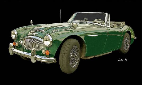 Austin Healey 3000 Poster featuring the digital art British Racing Green by Larry Linton