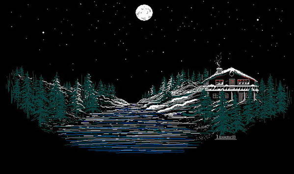 Cold Mountain Winter Poster featuring the digital art Cold Mountain Winter by Larry Lehman