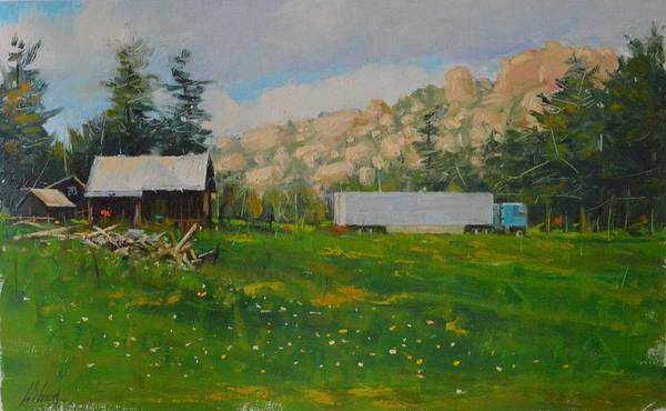 Landscape Poster featuring the painting Livin in the sticks by Greg Clibon
