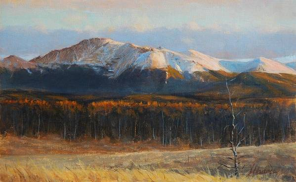 Landscape Poster featuring the painting Pikes Peak by Greg Clibon