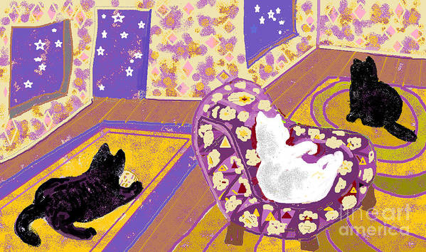 Black Cats Poster featuring the digital art Three Cats by Beebe Barksdale-Bruner