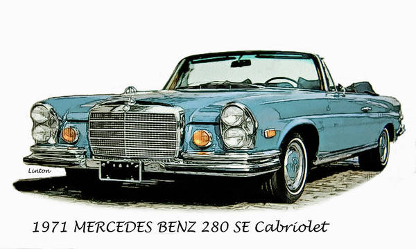 Mercedes Benz Poster featuring the digital art Cabriolet by Larry Linton
