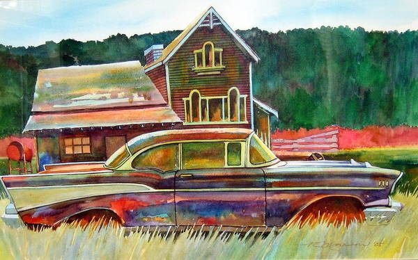 57 Chev Poster featuring the painting American Heritage by Ron Morrison