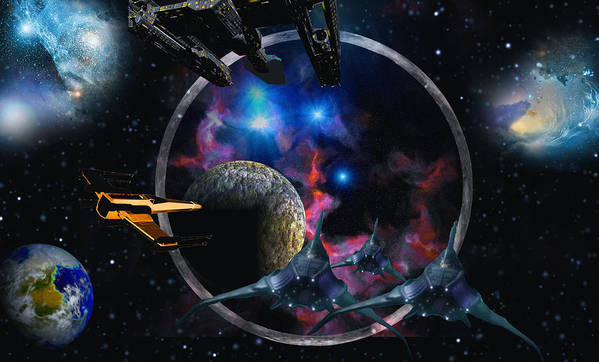 Scifi David Jackson Alienvisitor Space Poster featuring the digital art Andromeda Beckons by David Jackson