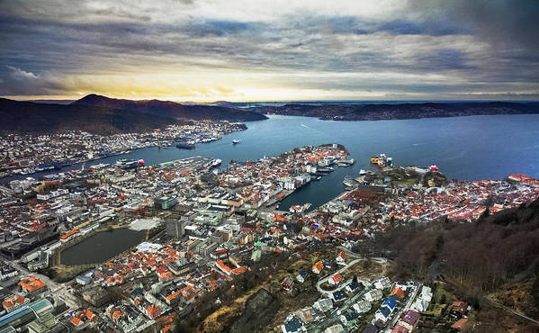 Dji Poster featuring the photograph Bergen Norway Aerial by Adam Rainoff