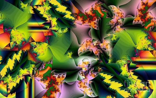 Fractal Poster featuring the digital art Collage in Green and Lavender by Ron Bissett