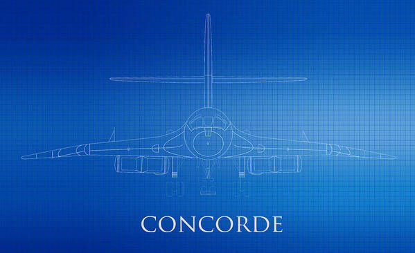 Concorde Airplane Poster featuring the photograph Concorde Logo Blueprint by Brooke Roby