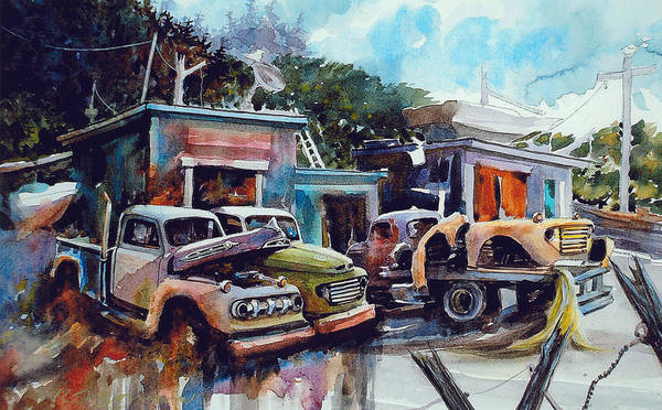 Trucks Poster featuring the painting Down on the Lower Road by Ron Morrison