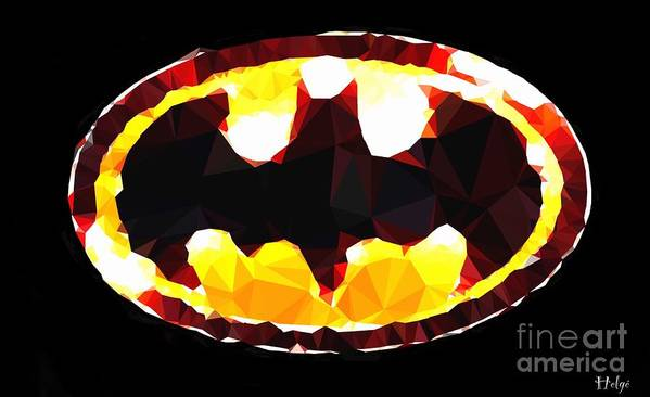 The Batman Poster featuring the digital art Emblem of Hope by HELGE Art Gallery