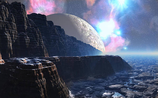 David Jackson Fortress Of Nimmbl Alien Landscape Planets Scifi Poster featuring the digital art Fortress of Nimmbl by David Jackson