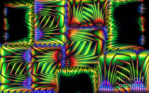 Abstract Poster featuring the digital art Frond Collage by Ron Bissett