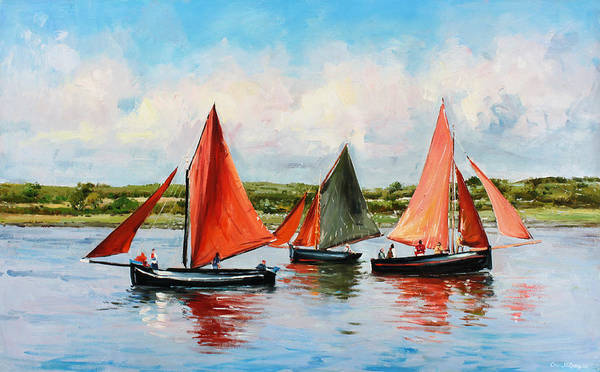 Galway Hooker Poster featuring the painting Galway Hookers by Conor McGuire