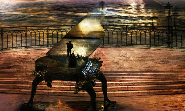 Gondola Piano Spells Journey Surrealism Terrace Gondolier Romantic Sea Red Fantastic Enchanted Alien Poster featuring the photograph Gondolier sonata by Desislava Draganova