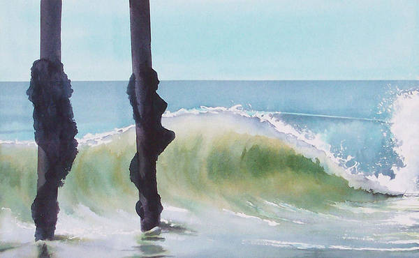 Surf Poster featuring the painting Huntington Pier by Philip Fleischer