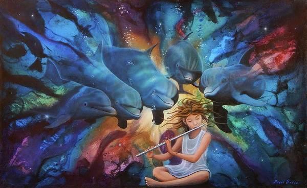 Flautista Poster featuring the painting la flautista III by Angel Ortiz