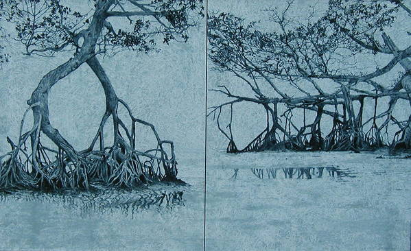 Blue Poster featuring the painting Mangroves by Leah Tomaino