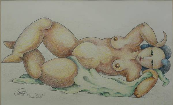 Sacha Poster featuring the drawing Nude 2006 by S A C H A - Circulism Technique