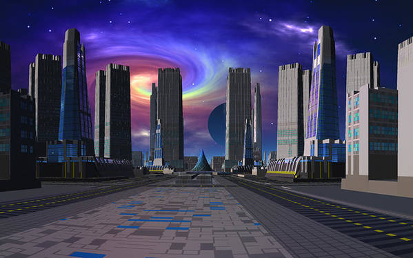 Scifi David Jackson Alienvisitor Space Passing Of The Dark Star Poster featuring the digital art Passing of the Dark Star by David Jackson