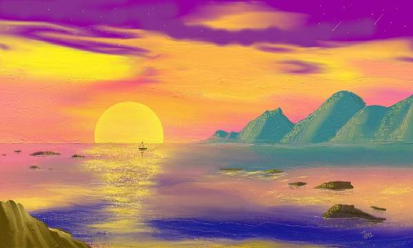 Seascapes Poster featuring the digital art Purple Haze Sunset by Tony Rodriguez