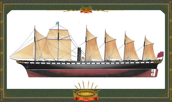 Great Britain Poster featuring the mixed media SS Great Britain by The Collectioner