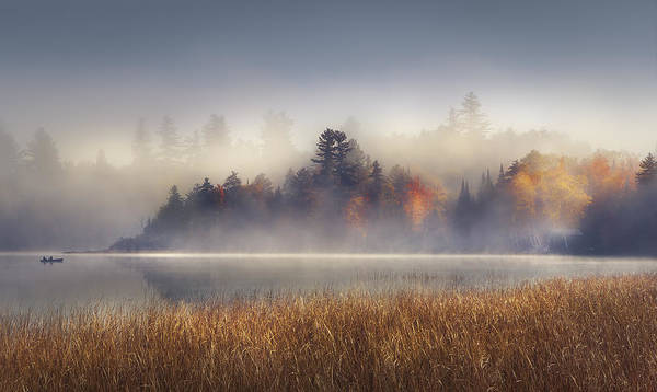 Lake Placid Poster featuring the photograph Sunrise Boat by Magda Bognar